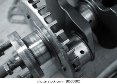 Part of a car engine.close up  old mechanism.monochrome