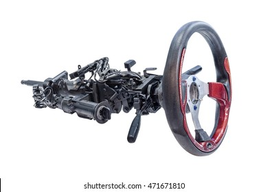 part of car steering wheel isolated on white background