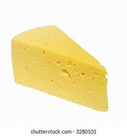 The part of cheese over white background