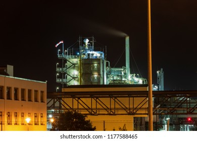 Part of a chemical plant at night