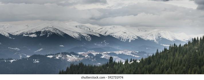 Part of Chornohora ridge. Spring. March.