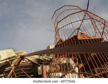 Part of a collapsed spiral staircase.