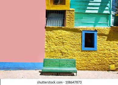 Part of colourful buildings of La Boca Buenos Aires Argentina