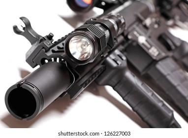Part of custom build AR-15 tactical carbine with flashlight. Shallow DOF.