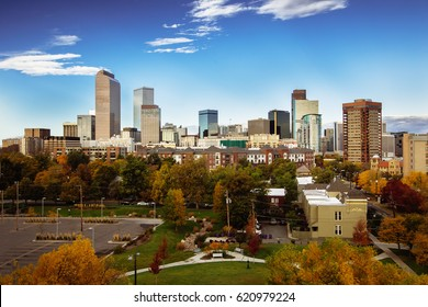 Part of Denver city skyline during early morning in autumn season