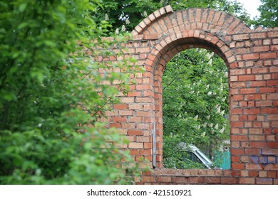 Part of the destroyed brick building