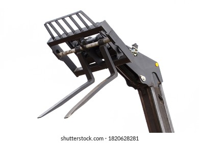 Part and detail of forklift loader or stacker on white background, technology