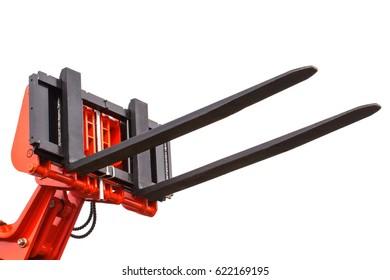 Part and detail of forklift loader or stacker, technology