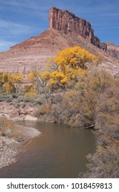 Part of the Dolores River flows past the sandstone butte known as The Palisade at Gateway, Colorado