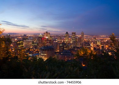 A Part of Downtown Montreal view from the mountain of Mont-Royal at dusk