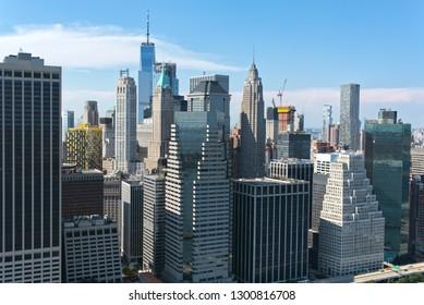 Part of downtown New York City skyline, Manhattan blue sky, Aerial view
