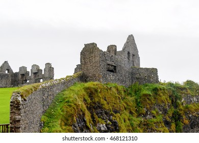 Part of the Dunluce Castle, a medieval castle in Northern Ireland.