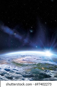 part of Earth seen from space with lens flare sun and space