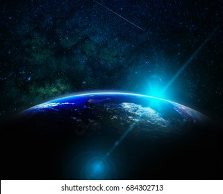 Part of earth with sun rise and lens flare over the Milky Way background, Internet Network concept, Elements of this image furnished by NASA
