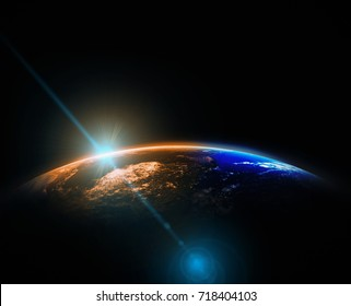 Part of earth with sun rise and lens flare background, Internet Network concept, Elements of this image furnished by NASA