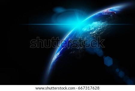 part earth sun rise lens flare stock photo edit now 667317628
