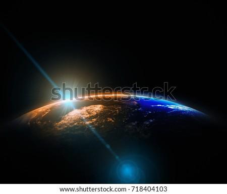 part earth sun rise lens flare stock photo edit now 718404103