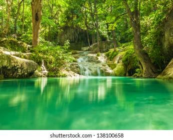 Part of Erawan Waterfall. Kanchanaburi province in Thailand.