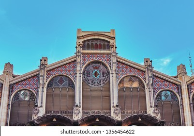 Part of the facade of the central market building of Valencia, Spain