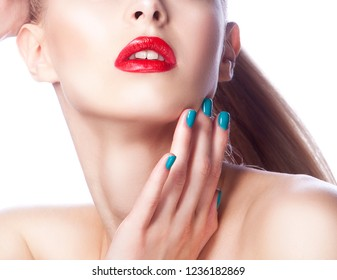 Part of face with lips, neck and shoulder of girl touching cheek with hand, nail manicure. Red lips make-up. Beauty skin health care style. White background