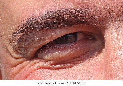 part of the face of a mature man with an eye with wrinkles in the corner and an eyebrow