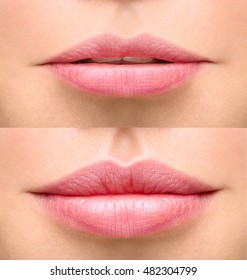 Part of face, young woman close up. Sexy plump lips after filler injection