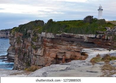 A part of Federation Cliff walk near Macquarie Lighthouse with stunning views on high sandstone cliffs and amazing panoramic views of the Tasman Sea