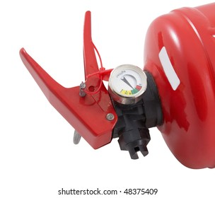 Part of fire extinguisher isolated on a white background