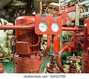part of fire sprinkler system in the ship engine room