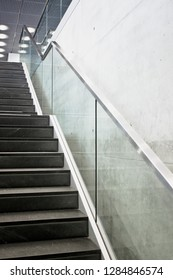 Part of a flight of stairs in a modern building