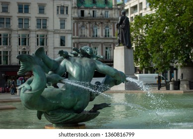 The part of the fountain in the city. View from back.