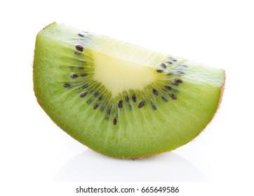 Part of fresh kiwi on white background.