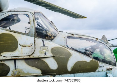 Part of the fuselage as a background of a combat helicopter Mi 24