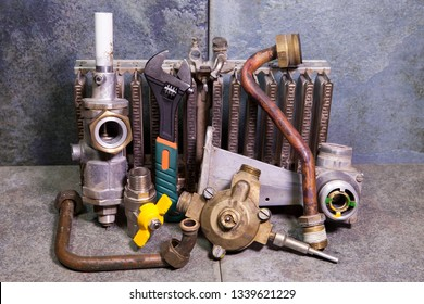 the part of gas boiler, water fittings and adjustable spanner