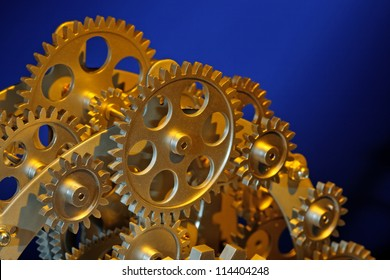 Part of gears in a mechanical clock.