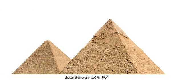 Part of Giza pyramid complex, also called the Giza Necropolis, isolated on white background. Greater Cairo, Egypt.