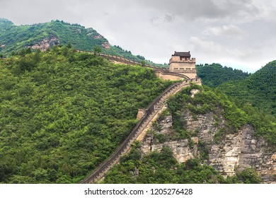 A part of the Great Wall of China in a cloudy day