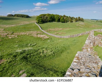 Part of Hadrian's Roman Wall, near Housesteads Fort, Northumberland National Park, England