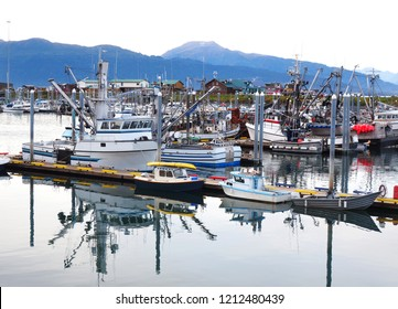 Part of the Harbor and Docked Ships and Boats at Homer Alaska