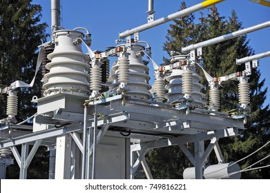 Part of high-voltage substation with switches and dis connectors.High voltage converter at a power plant