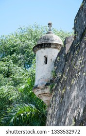 The part of historic 16th century wall of San Juan old town in Puerto Rico.