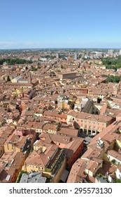 Part of historic center of Bologna, Italy seen from Asinelli Tower