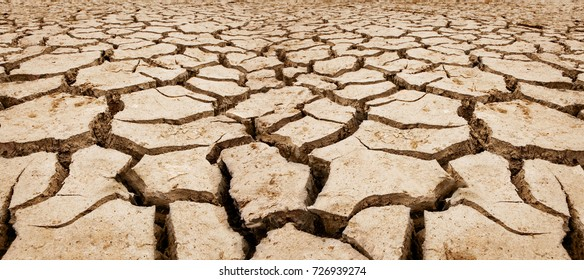 Part of a Huge Area of Dried Land Suffering from Drought - in Cracks