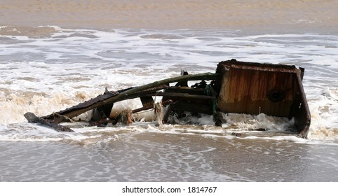 Part of a hull of wrecked boat