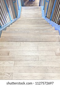 Part of an interior modern wooden staircase