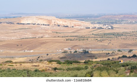 A Part of Israel-Syrian Border On the Golan HIghts, And Rebels White Tents On the Syrian Side