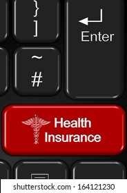 Part of keyboard with a red health insurance button / Internet health insurance