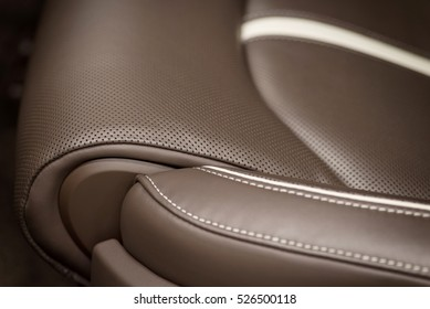 Part of leather car seat background. Macro photo.