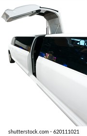 Part of limousine with open door. Clipping path included.