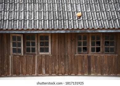 The part of local Thai style of house construction made by wood in the area of Sangklaburi Thailand, Kanchanaburi